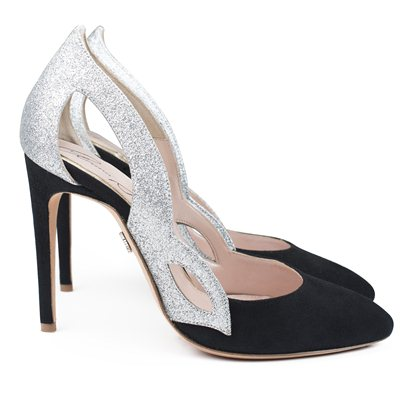 Farfalla Black Suede with Silver Glitter Mezza