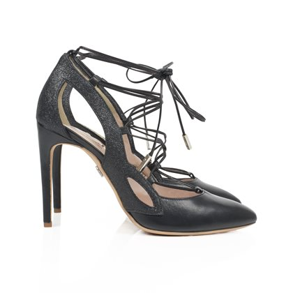 Farfalla Black Leather and Glitter Lace Up Mezza