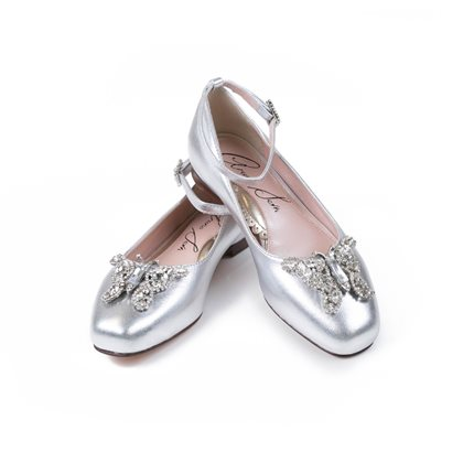 Farfalla Silver Leather Ballerina